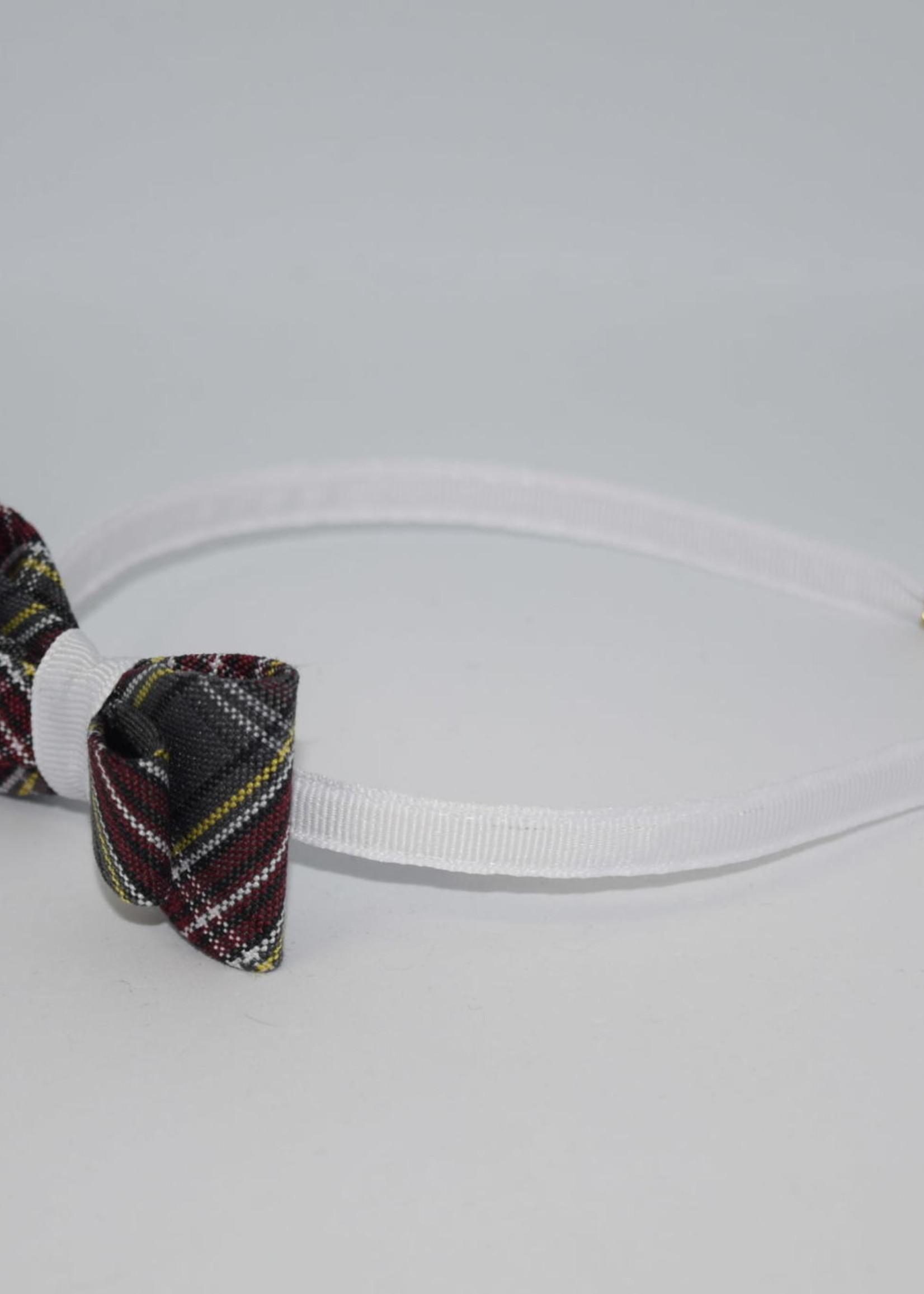 Double Tailored Ponytail Bow on Headband P43 WHT