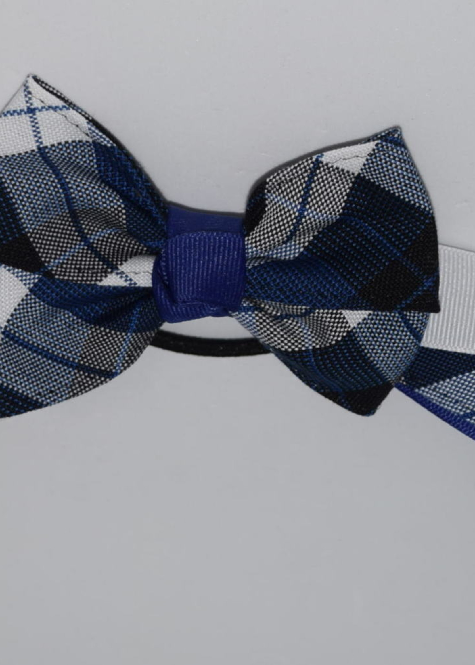 4 looped plaid bow w/plaid & grosgrain tails P578 ROY WHT