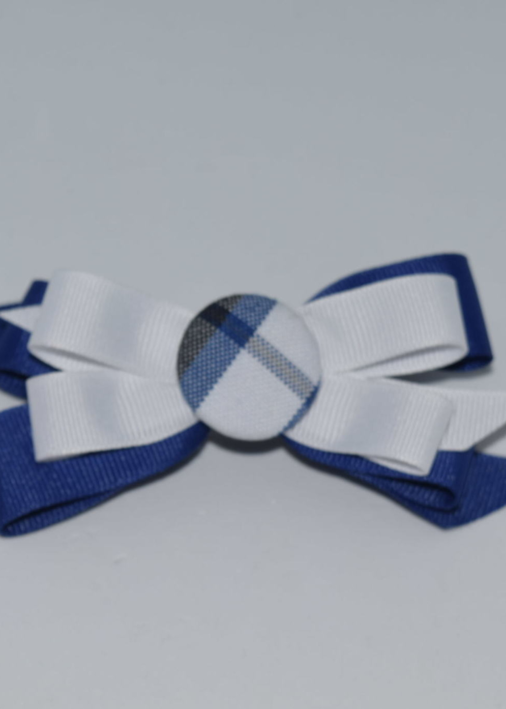 Two Color Bow w/ Plaid Button - P578