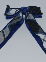Large 2-layered plaid & grosgrain ribbon bow w/tails P578 WHT