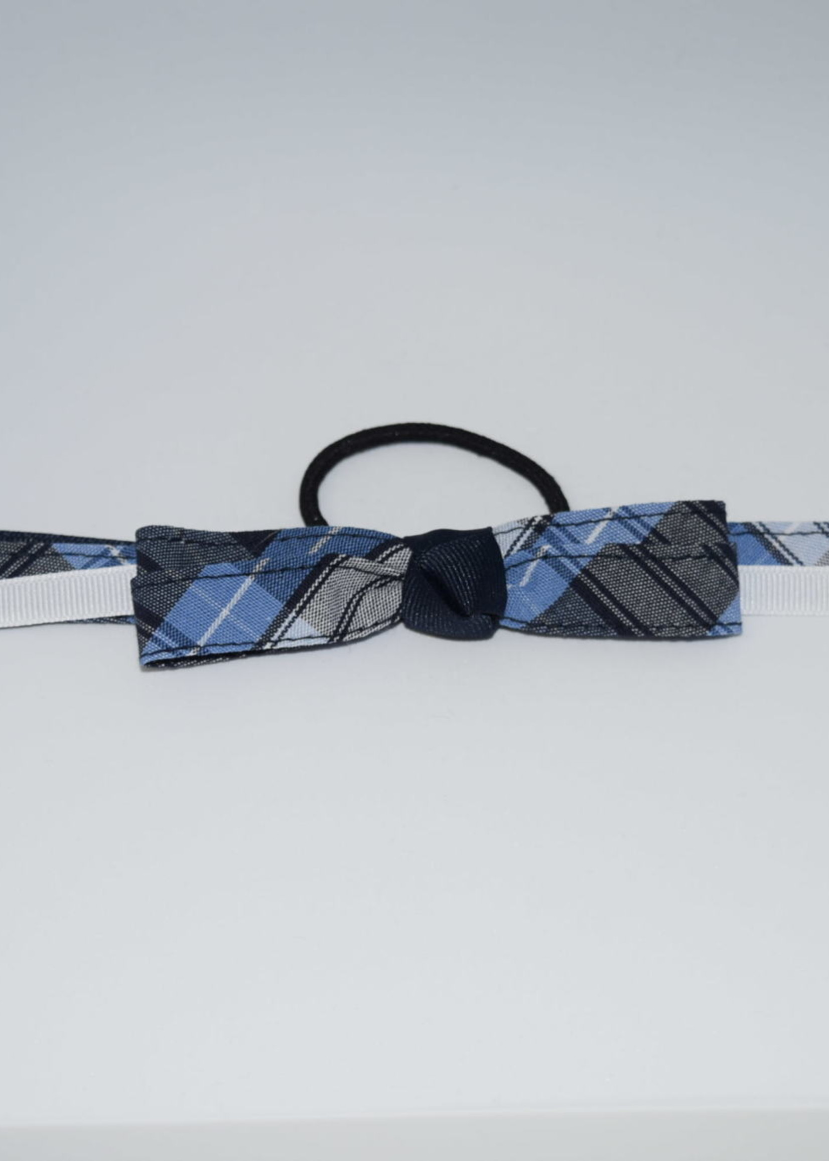 4 looped plaid bow w/plaid & grosgrain tails P76 NVY WHT