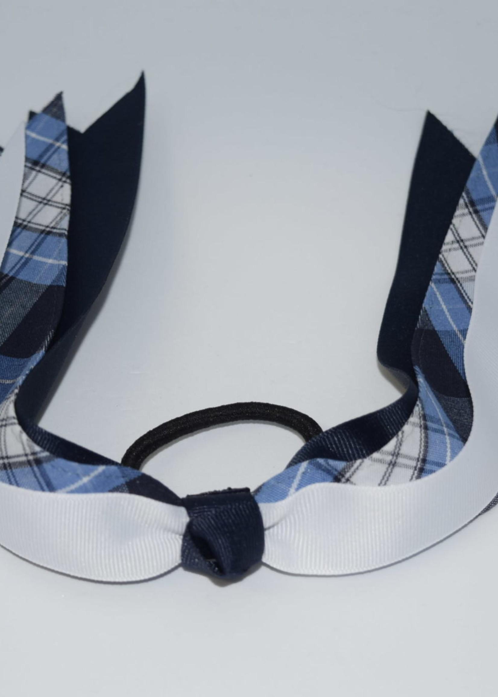Wide Plaid & Grosgrain Ribbon Streamer Bow P76 NVY WHT