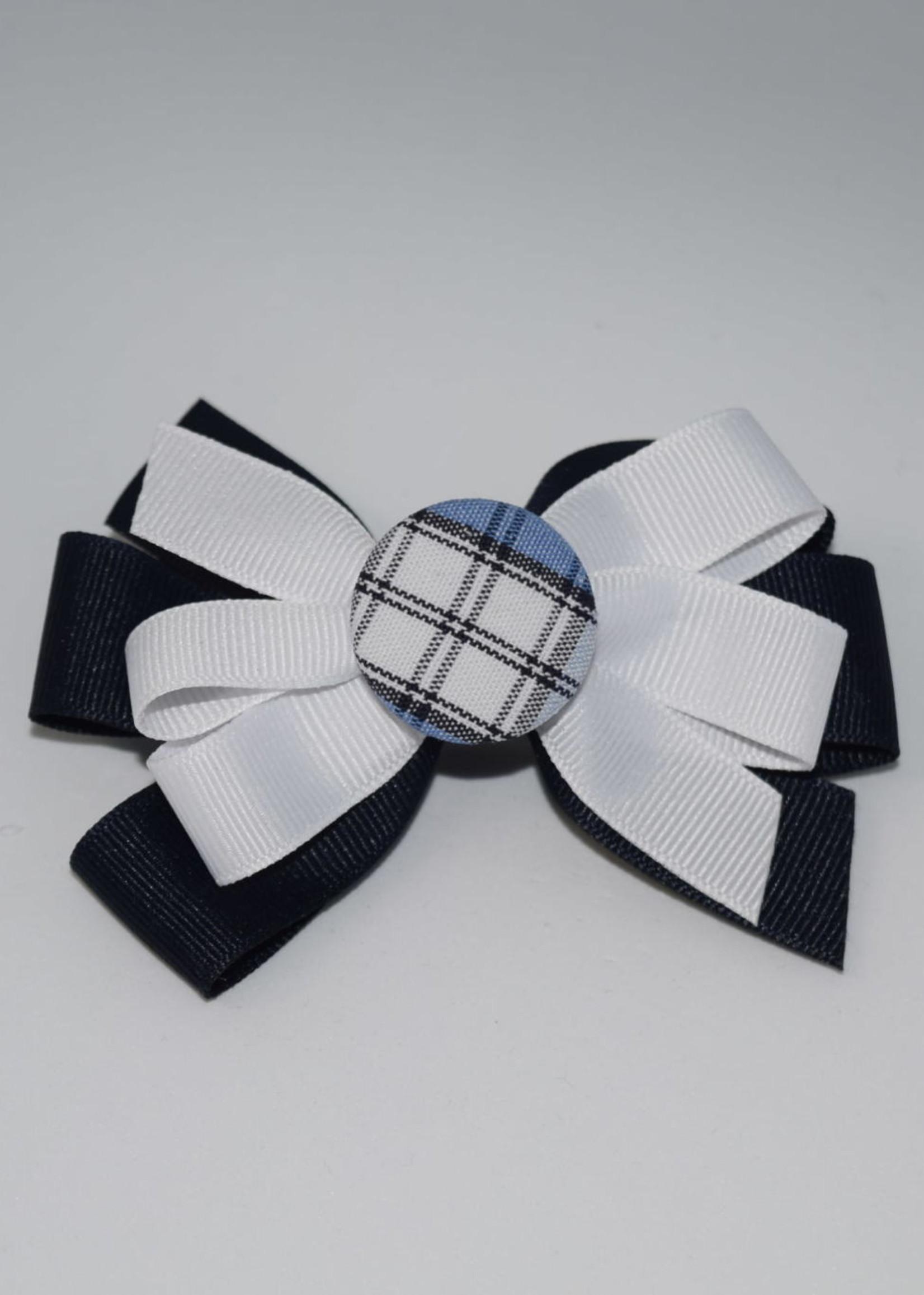 Two Color Bow w/ Plaid Button - P76