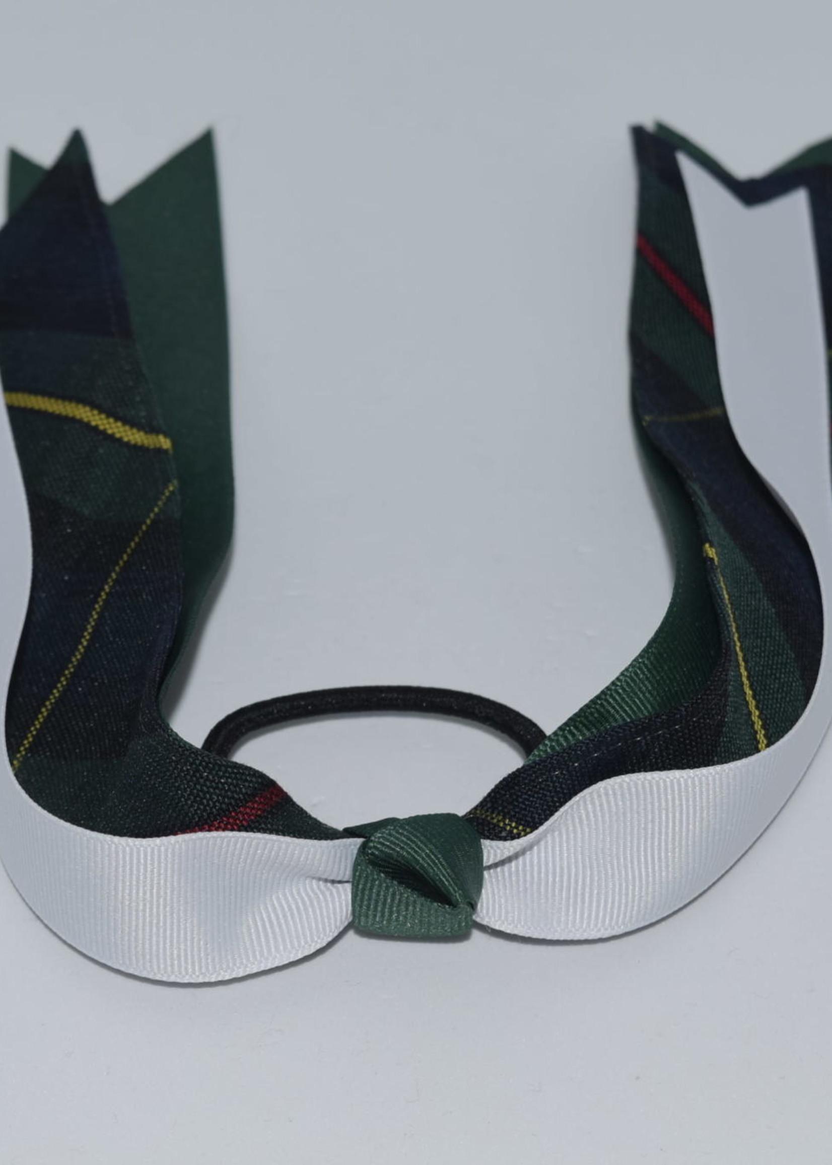 Wide Plaid & Grosgrain Ribbon Streamer Bow P83 FOR WHT