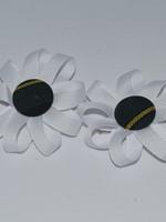 Round Pigtail Ribbon Botton Bows w/plaid center P83 WHT