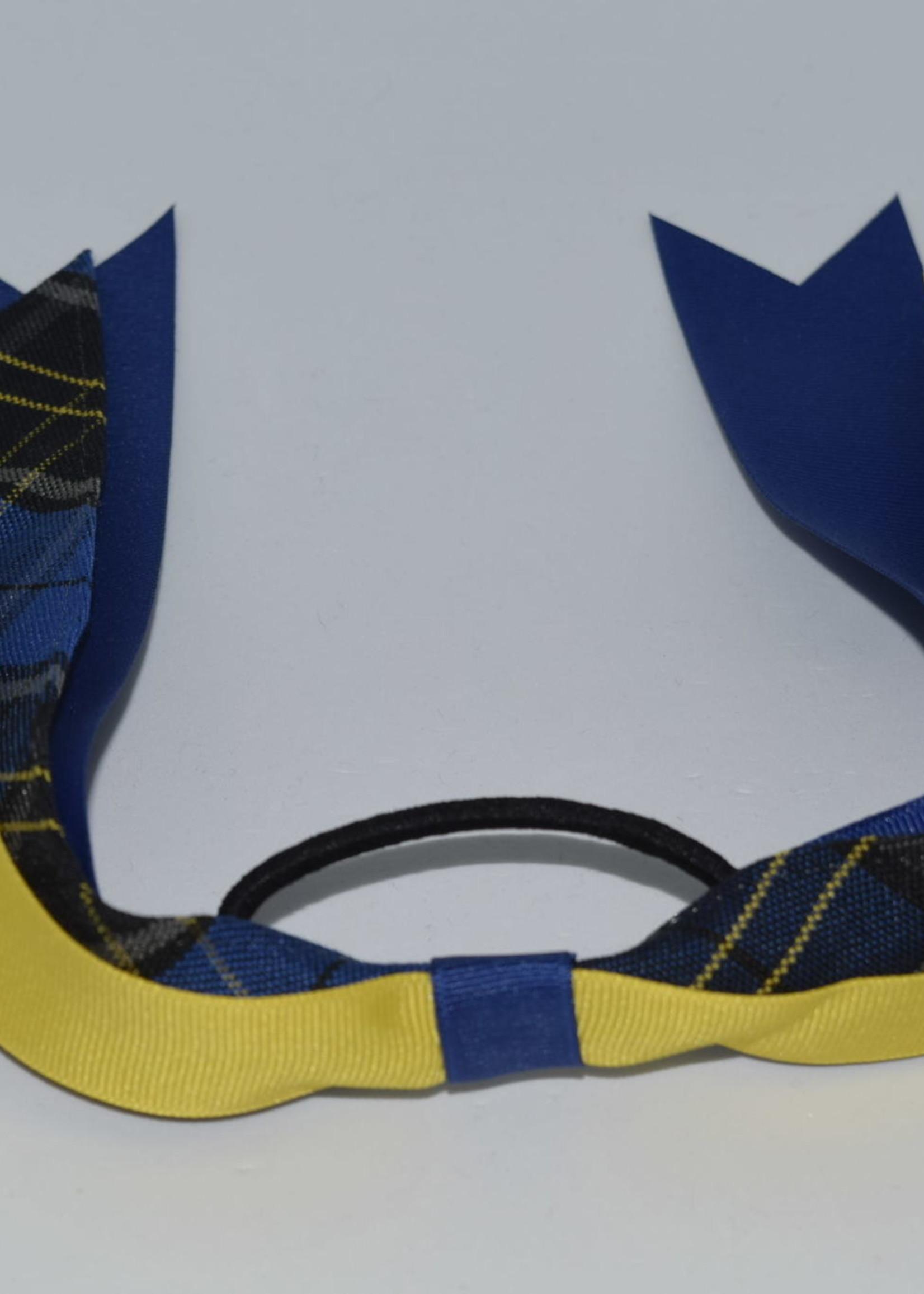 Wide Plaid & Grosgrain Ribbon Streamer Bow P92 ROY MAZ