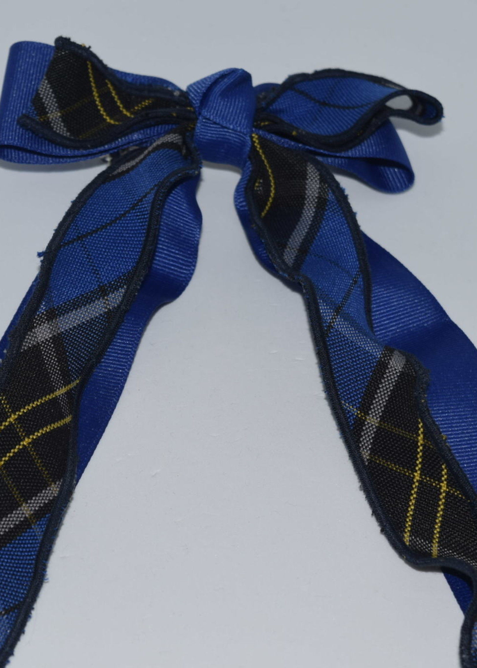 Large 2-layered plaid & grosgrain ribbon bow w/tails P92 MAZ