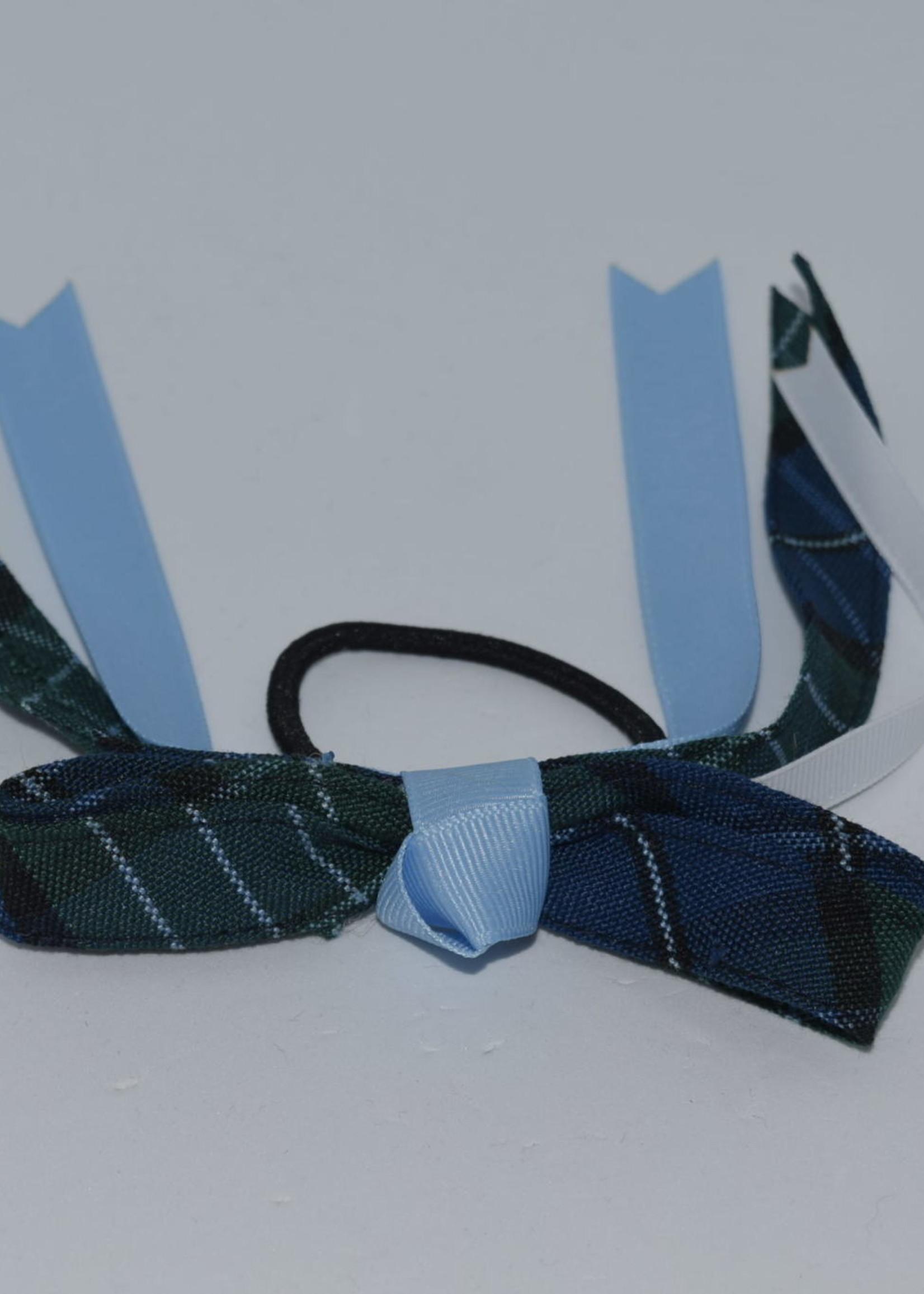 4 looped plaid bow w/plaid & grosgrain tails P96 LBL WHT