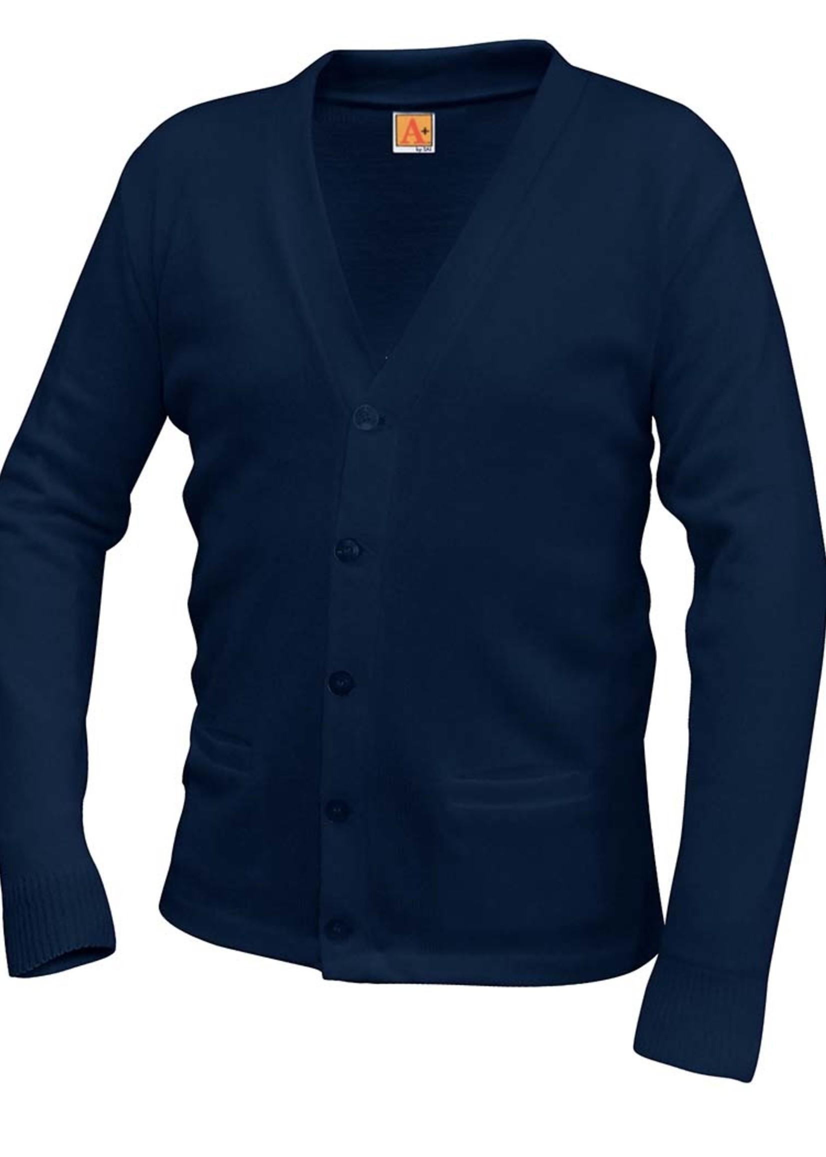SPX Navy V-neck cardigan sweater with pockets