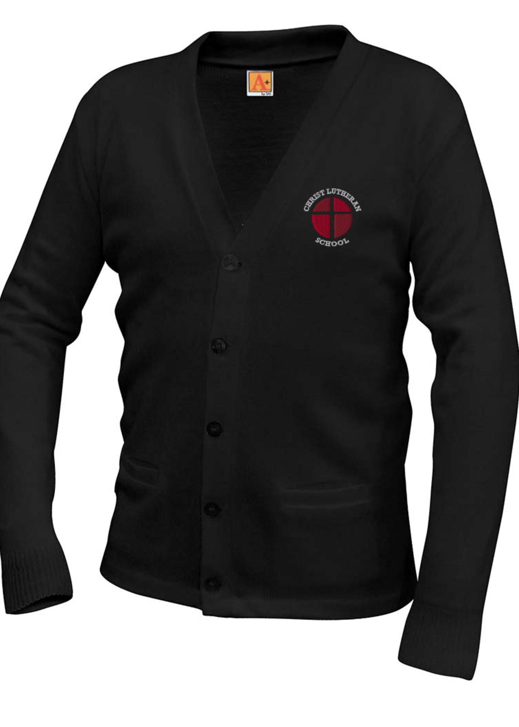 CLS Black V-neck cardigan sweater with pockets