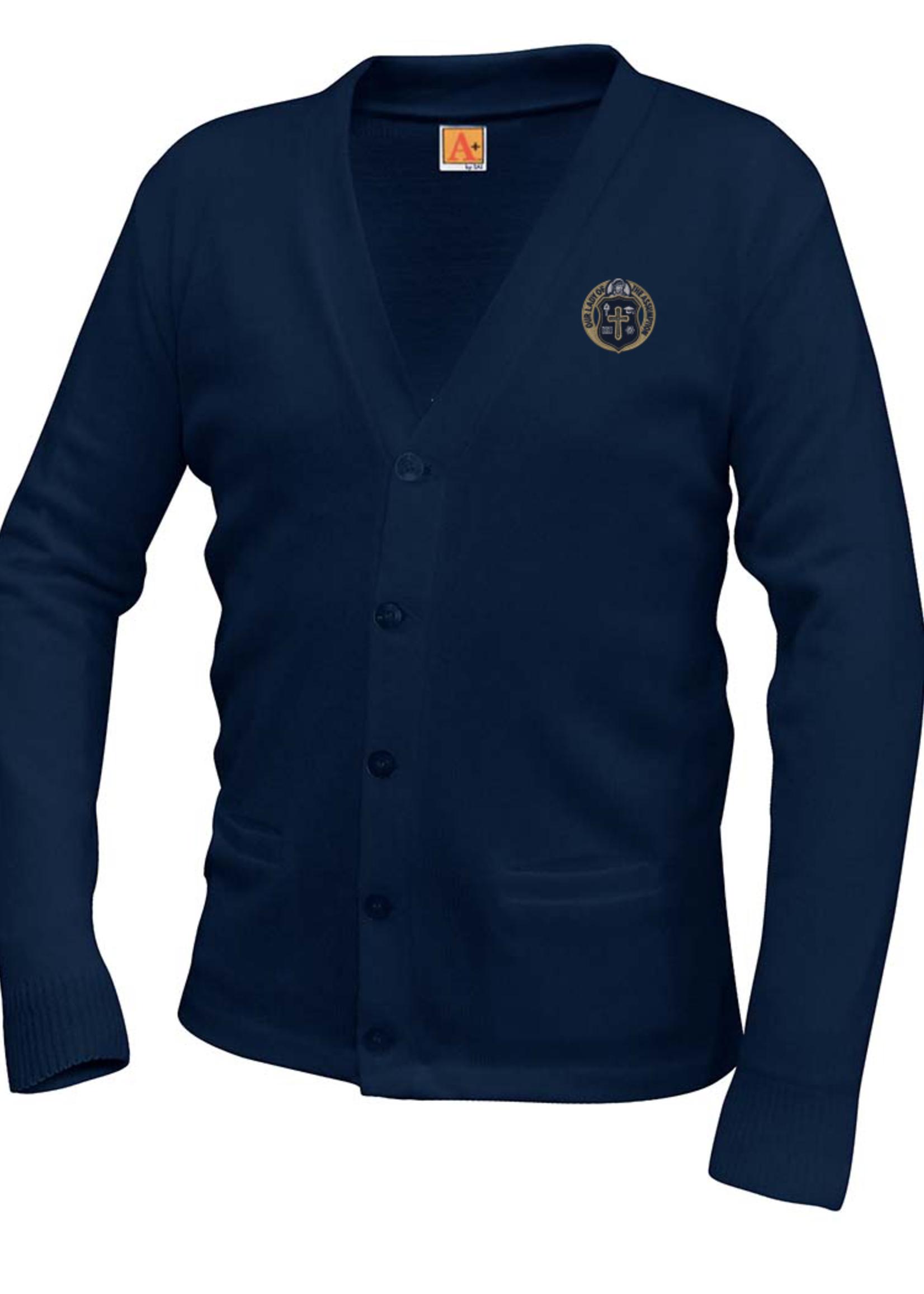 OLA Navy V-neck cardigan sweater with pockets