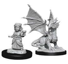 Dungeons and Dragons Nolzur's Marvelous Minis Silver Dragon Wyrmling and Female Halfling