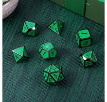 Dice Habit Apple Green and Gun Metal Polyhedral 7 die set