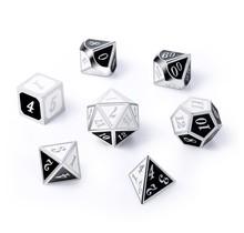 Dice Habit Panda Black / White with Silver Metal Polyhedral 7 die set