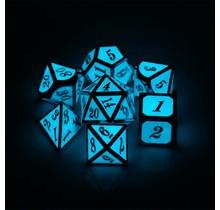 Dice Habit Glow in the Dark Blue with Silver Metal Polyhedral 7 die set