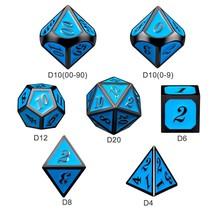 Dice Habit Sky Blue with Gun Metal Polyhedral 7 die set