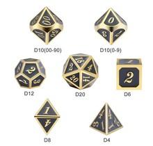 Dice Habit Gray with Gold Metal Polyhedral 7 die set