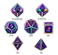 Dice Habit Royal Purple with Rainbow Metal Polyhedral 7 die set