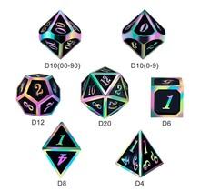 Dice Habit Black with Rainbow Metal Polyhedral 7 die set