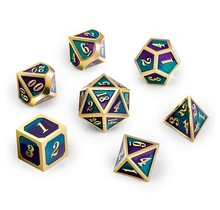 Dice Habit Jester Green / Purple with Gold Metal Polyhedral 7 die set