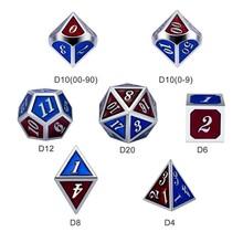Dice Habit Burgundy / Blue with Silver Metal Polyhedral 7 die set
