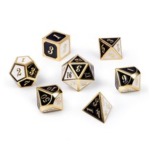 Dice Habit Chess Black / White with Gold Metal Polyhedral 7 die set