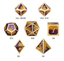 Dice Habit Violas Purple / Yellow with GoldMetal Polyhedral 7 die set