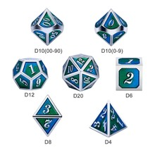 Dice Habit Earth Blue / Green with Silver Metal Polyhedral 7 die set
