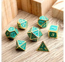 Dice Habit Teal and Gold Metal Polyhedral Set