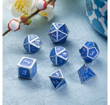 Dice Habit Azure and Silver Metal Polyhedral Set