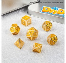Dice Habit Yellow Glitter with Gold Metal Polyhedral 7 die set