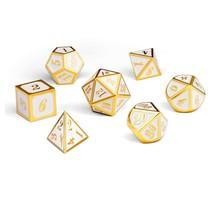Dice Habit White with Gold Metal Polyhedral 7 die set