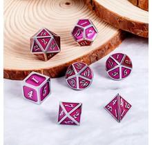Dice Habit Magenta Pink with Silver Metal Polyhedral 7 die set