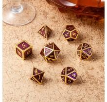 Dice Habit Purple with Gold Metal Polyhedral 7 die set