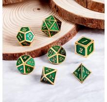 Dice Habit Green with Gold Metal Polyhedral 7 die set