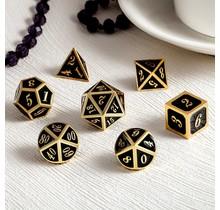 Dice Habit Black with Gold Metal Polyhedral 7 die set
