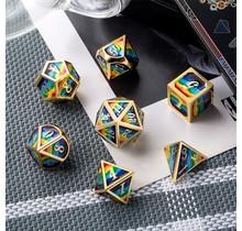 Dice Habit Rainbow with Gold Metal Polyhedral 7 die set