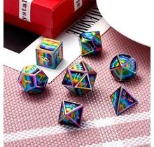 Dice Habit Psychedelic Rainbow with Rainbow Metal Polyhedral 7 die set