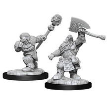 Magic the Gathering Unpainted Minis Dwarf Fighter & Dwarf Cleric