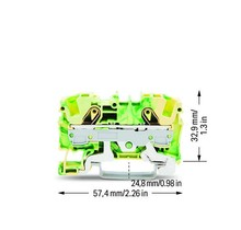 TOPJOB®S ground terminal block; rail mount; 2-conductor; 7.5 mm wide; green-yellow