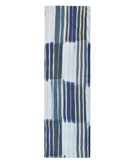 Dupatta Nixon 100% Cotton Handpainted Color Block Stripes - Blue/White