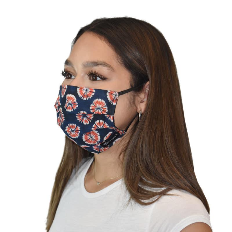Dupatta Singer 2-Layer Cotton Facemask - Red/Blue