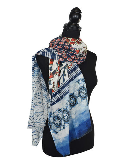 Dupatta Singer Cotton/Modal Mixed Geo/Floral Scarf - Red/Blue