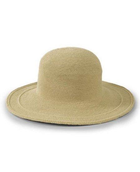 WOMEN'S COTTON CROCHET HAT LARGE BRIM -  NATURAL