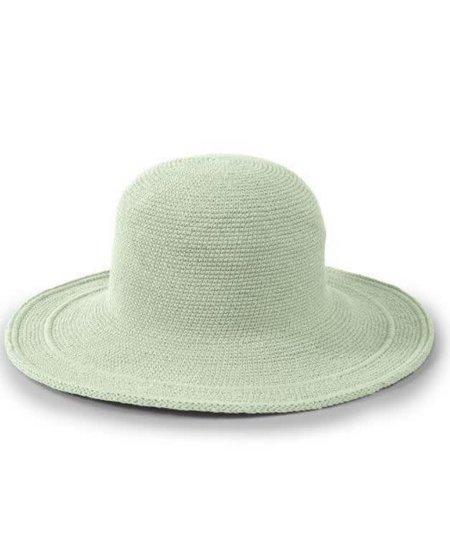 WOMEN'S COTTON CROCHET HAT LARGE BRIM -  STONE