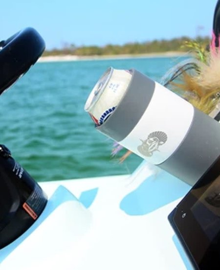 Toadfish Non-tipping Can Cooler + Adapter - White
