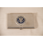 Americana Pewter Detail Presidential Seal Business Card Holder