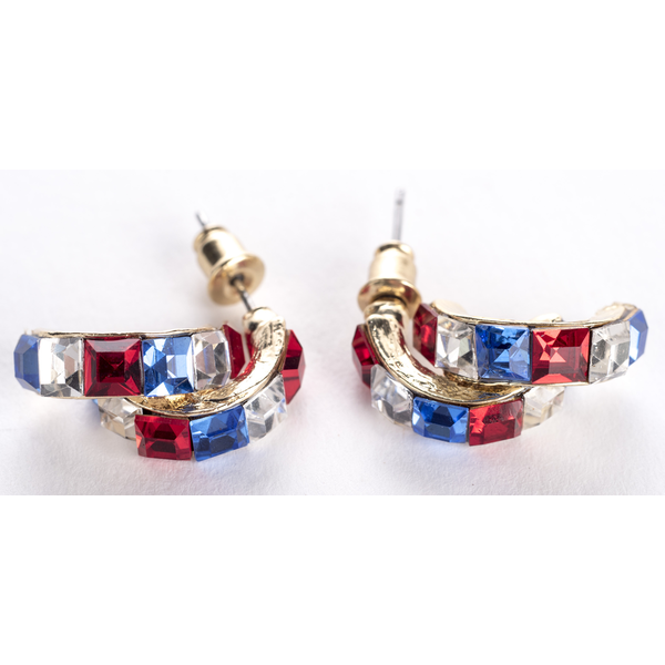 Americana RWB double hoop earrings