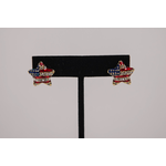 Sale sale-Puffed Red, White, & Blue Star Earrings