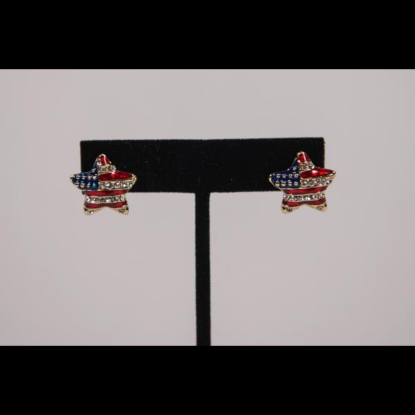 Americana Puffed Red, White, & Blue Star Earrings